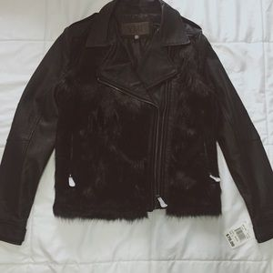 LEATHER MOTO JACKET BLACK / YMI / SIZE SMALL